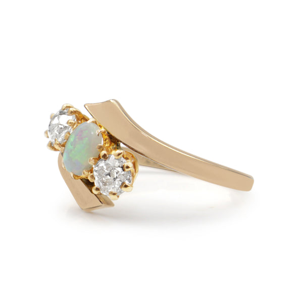 18ct Rose Gold Antique Old Cut Diamond and Opal Ring