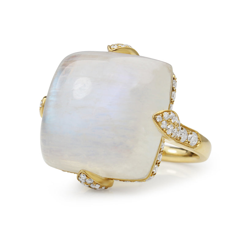 18ct Yellow Gold Moonstone and Diamond Ring