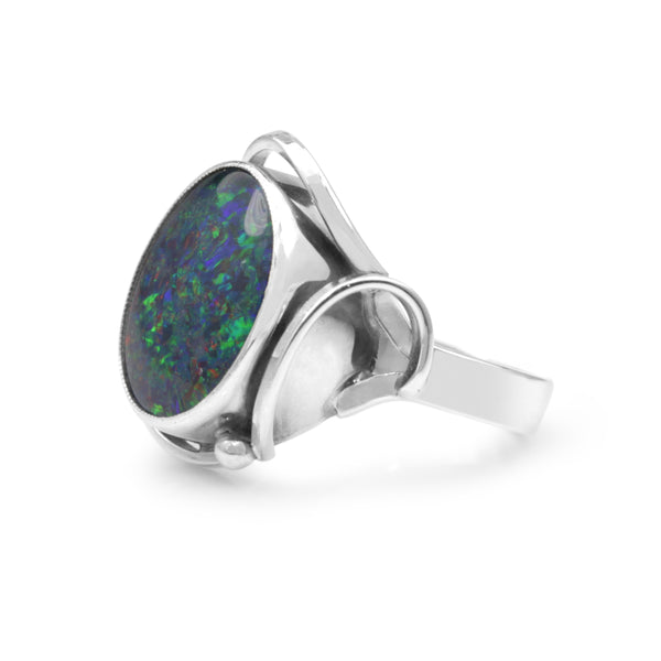 9ct White Gold Triplet Opal Ring