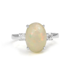 14ct White Gold Opal and Diamond 3 Stone Ring