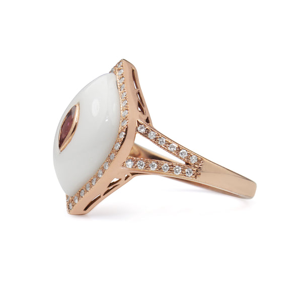9ct Rose Gold Agate, Tourmaline and Diamond Ring