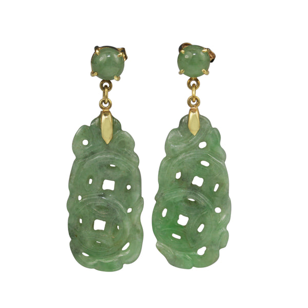 14ct Yellow Gold Jade Earrings