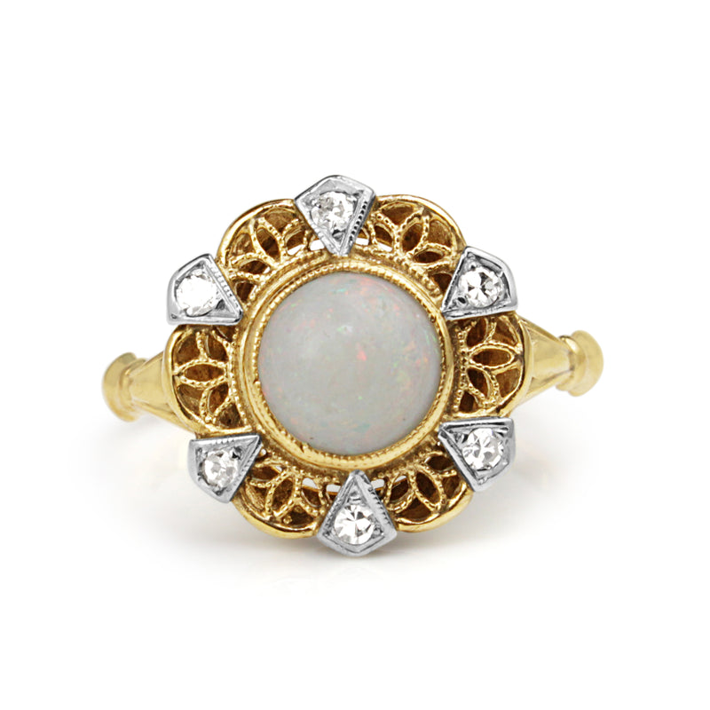 10ct Yellow Gold Vintage Opal and Diamond Ring