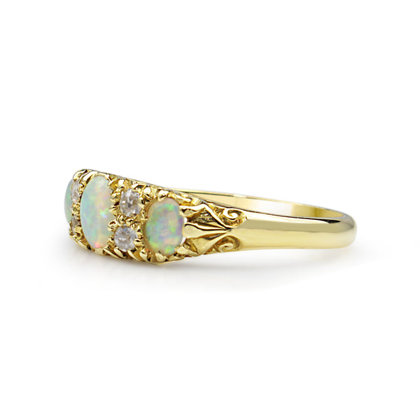 18ct Yellow Gold Antique Opal and Diamond Ring
