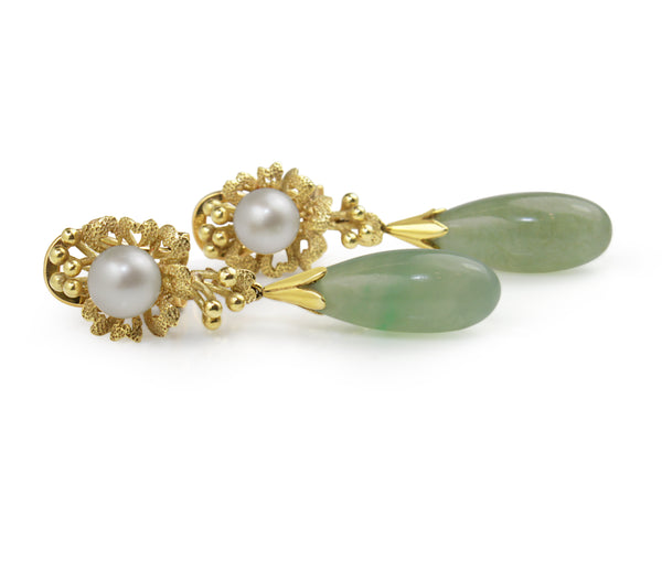 14ct Yellow Gold Jade and Pearl Drop Earrings