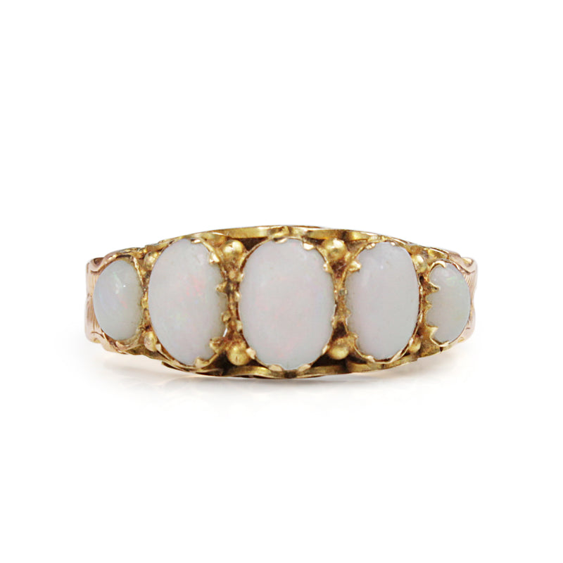 9ct Yellow/Rose Gold Victorian 5 Stone Opal Ring
