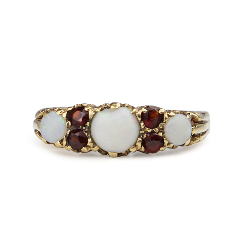 9ct Yellow/Rose Gold Antique Opal and Garnet Ring