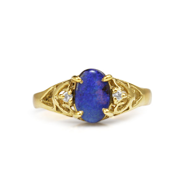 9ct Yellow Gold Boulder Opal and Diamond Ring