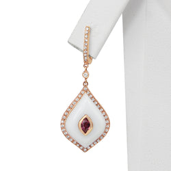 9ct Rose Gold Agate, Tourmaline and Diamond Earrings