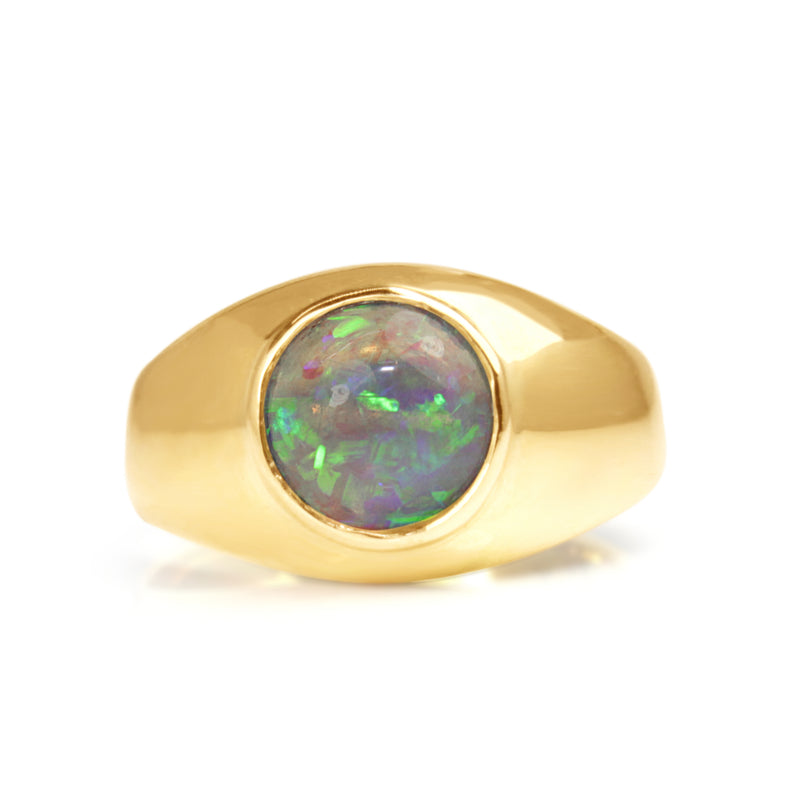 14ct Yellow Gold Black Opal Ring