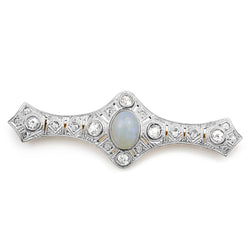 18ct Yellow Gold and Platinum Art Deco Opal and Diamond Brooch
