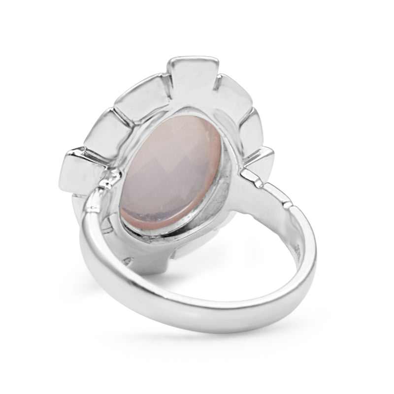 9ct White Gold Rose Quartz Ring