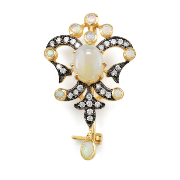 9ct Yellow Gold Opal and Diamond Brooch