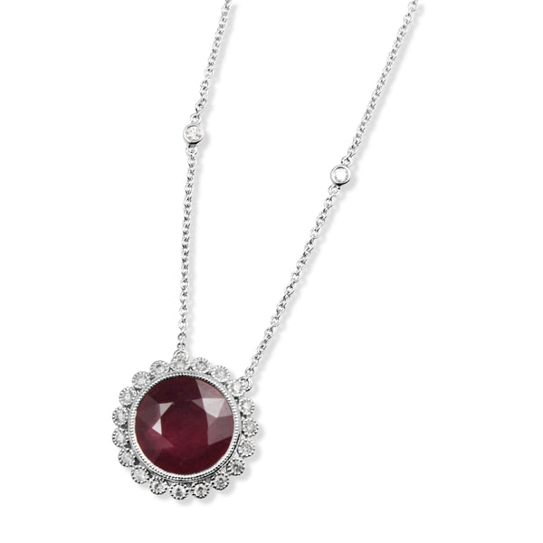 18ct White Gold Treated Ruby and Diamond Floral Necklace