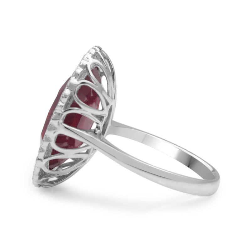18ct White Gold Treated Ruby and Diamond Cocktail Ring