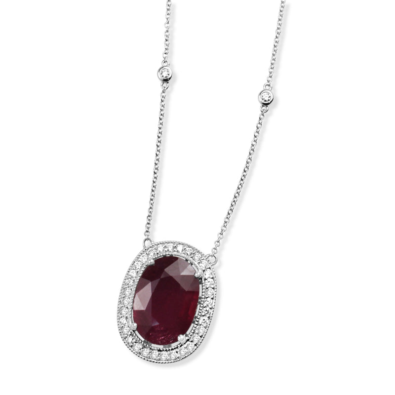 18ct White Gold Treated Ruby and Diamond Halo Necklace