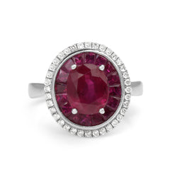 18ct White Gold Treated Ruby and Diamond Double Halo Ring
