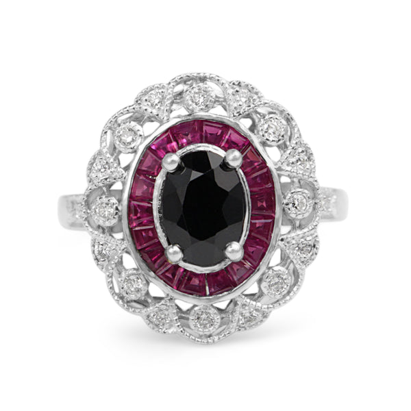 18ct White Gold Antique Style Ruby, Onyx and Diamond Ring
