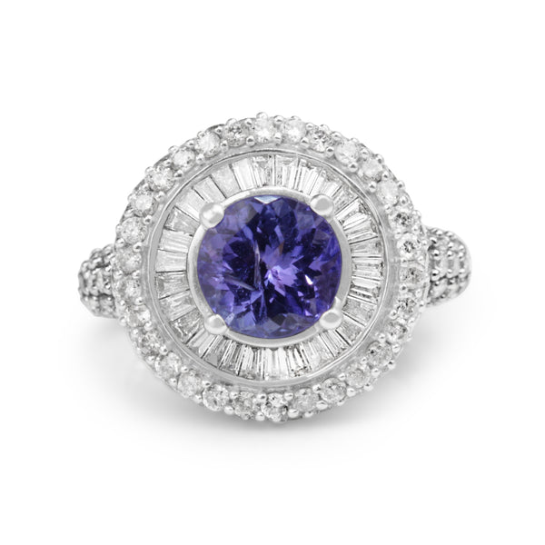 14ct White Gold Tanzanite and Diamond Cluster Ring