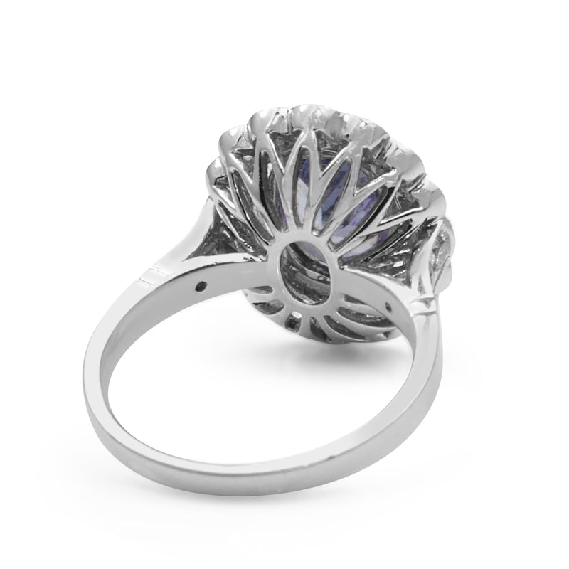 18ct White Gold Tanzanite and Diamond Daisy Ring