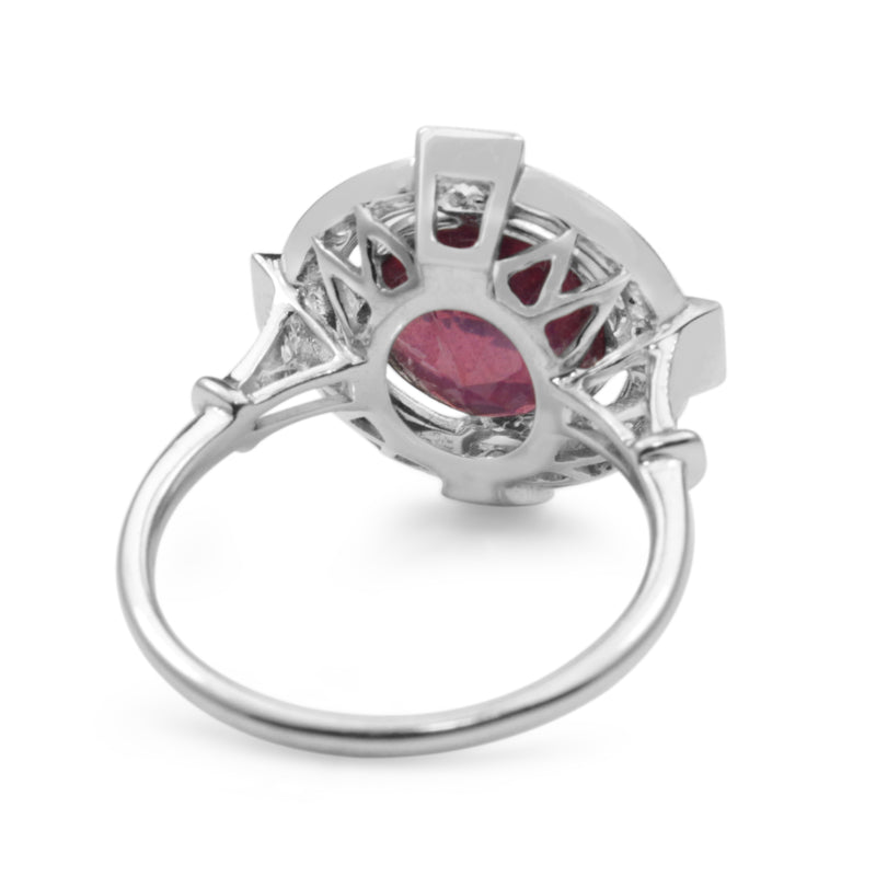 18ct White Gold Treated Ruby and Diamond Ring