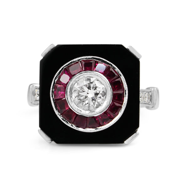 18ct White Gold Art Deco Style Onyx, Ruby and Diamond Ring
