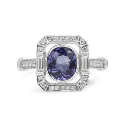 18ct White Gold Tanzanite and Diamond Deco Style Ring