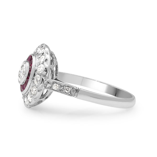 Platinum Art Deco Style Ruby and Diamond Ring