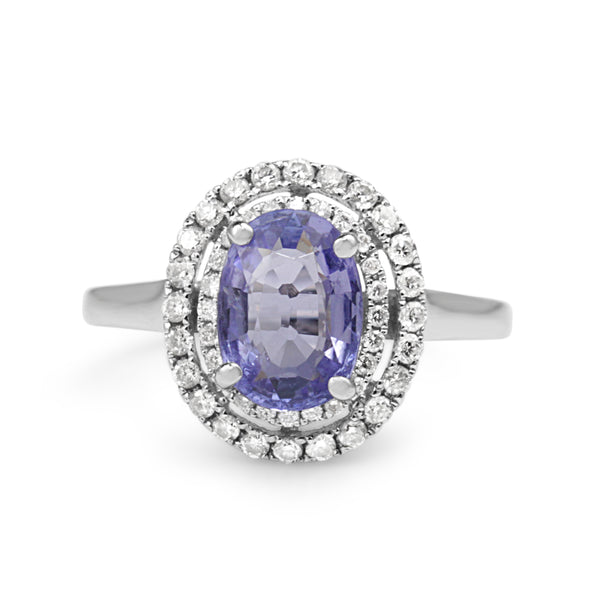 18ct White Gold Tanzanite and Double Halo Diamond Ring