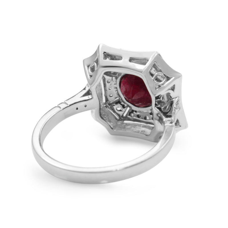 18ct White Gold Treated Ruby and Diamond Cluster Ring
