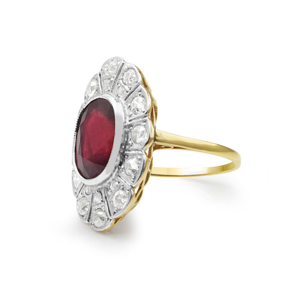 18ct Yellow Gold and Platinum Deco Treated Ruby and Diamond Ring