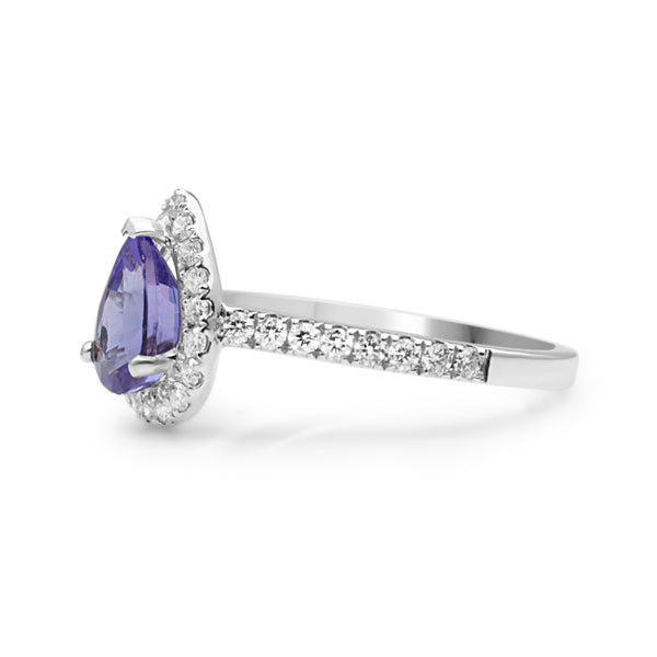 18ct White Gold Tanzanite and Diamond Pear Halo Ring