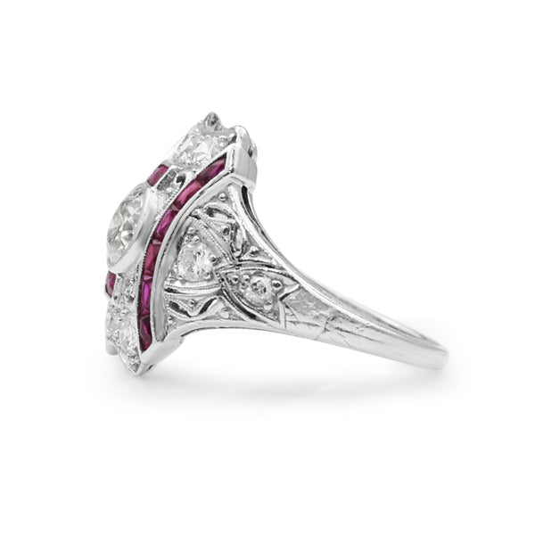 Platinum Art Deco Ruby and Diamond Ring