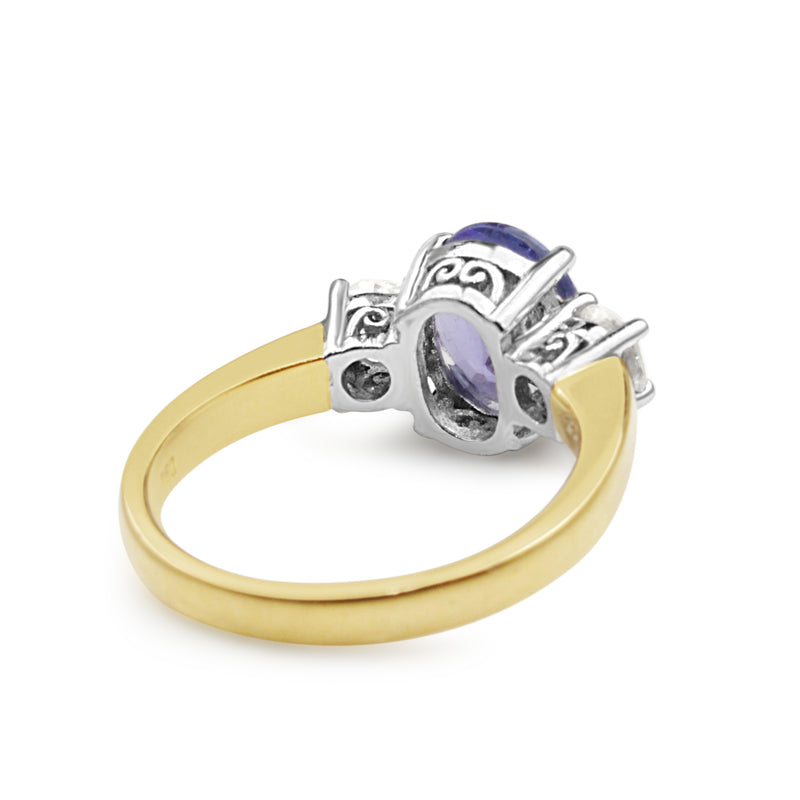 18ct Yellow and White Gold Tanzanite and Old Cut Diamond 3 Stone Ring