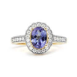 10ct Yellow and White Gold Tanzanite and Diamond Ring