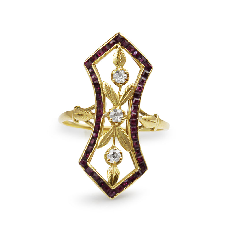 18ct Yellow Gold Art Nouveau Ruby and Diamond Ring