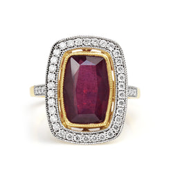 18ct Yellow and White Gold Treated Ruby and Diamond Ring