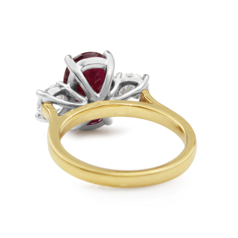 18ct Yellow and White Gold Natural Ruby and Diamond Ring