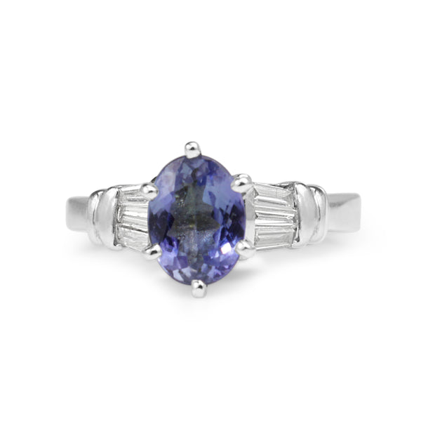 Platinum Tanzanite and Diamond Vintage Ring