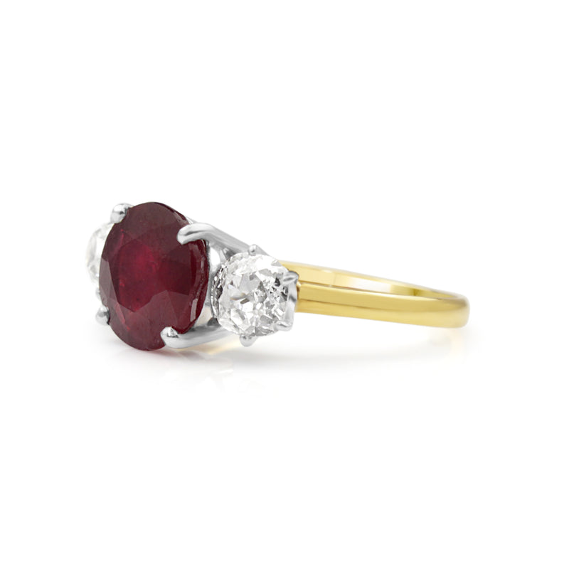 18ct Yellow Gold and Platinum 3 Stone Treated Ruby and Diamond Ring