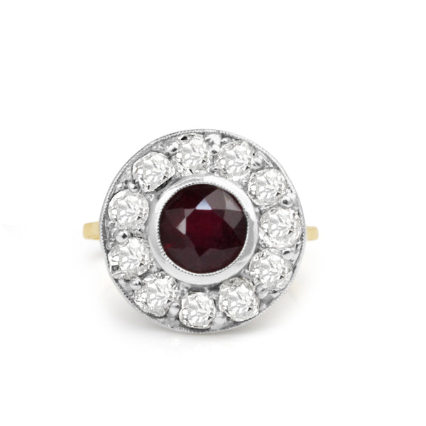 14cy Yellow Gold and Platinum Antique Treated Ruby and Diamond Ring