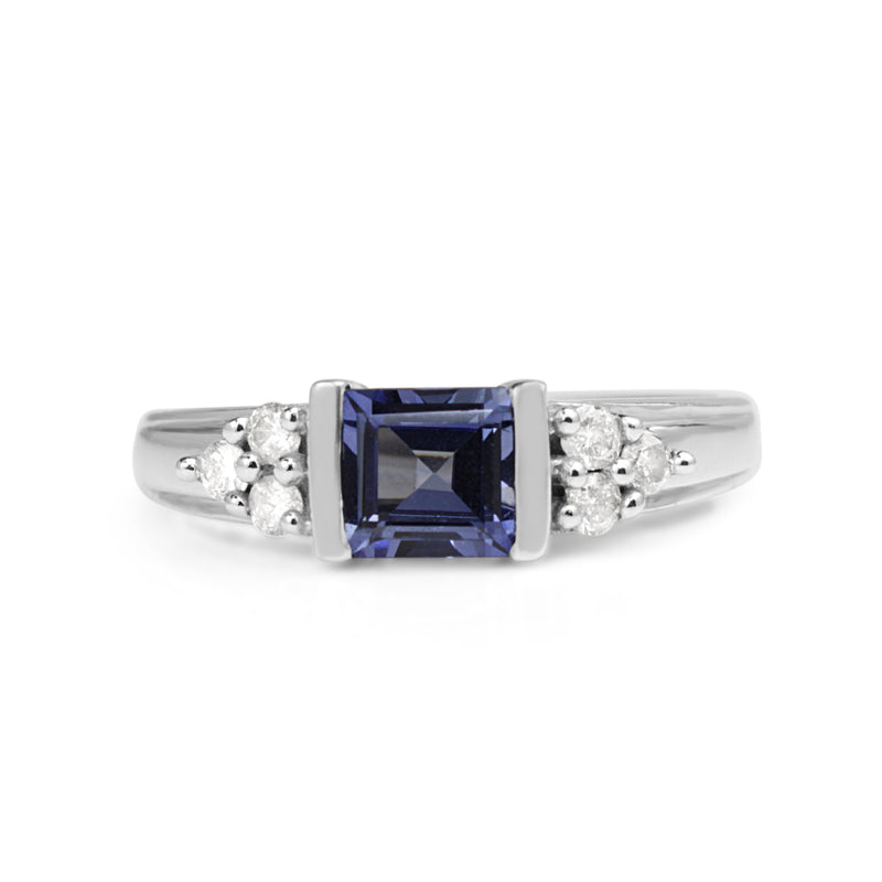 9ct White Gold Tanzanite and Diamond East West Ring
