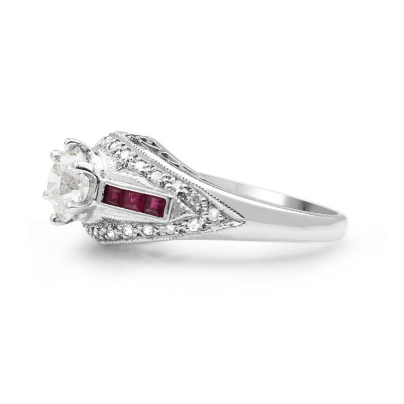14ct White Gold Ruby and Diamond Solitaire Ring
