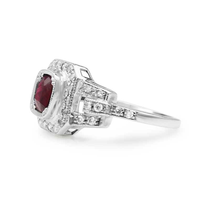 9ct White Gold Ruby and Diamond Art Deco Style Ring