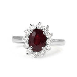 14ct White Gold Treated Ruby and Diamond Halo Ring