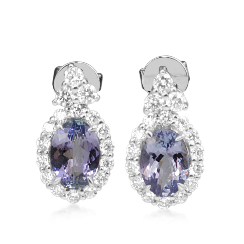 18ct White Gold Tanzanite and Diamond Halo Earrings