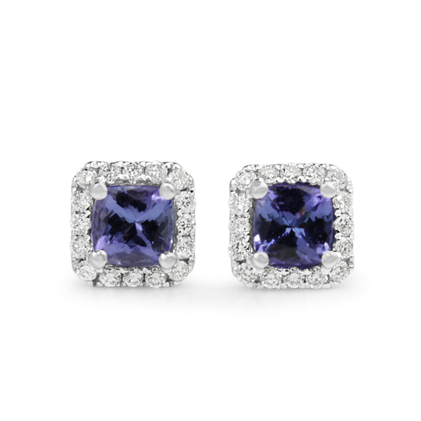 18ct White Gold Tanzanite and Diamond Square Halo Earrings