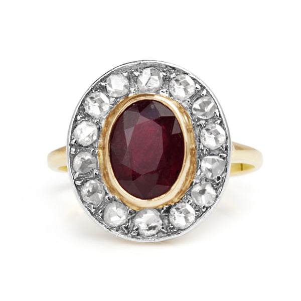 18ct Yellow and White Gold Antique Treated Ruby and Diamond Ring