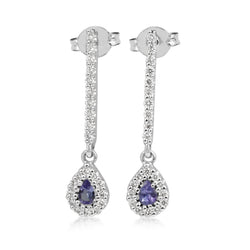 18ct White Gold Tanzanite and Diamond Drop Earrings