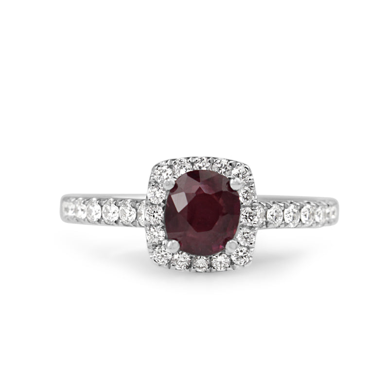 18ct White Gold Natural Ruby and Diamond Halo Ring